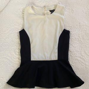 Aqua Bloomingdales Black & White Peplum Top XS S
